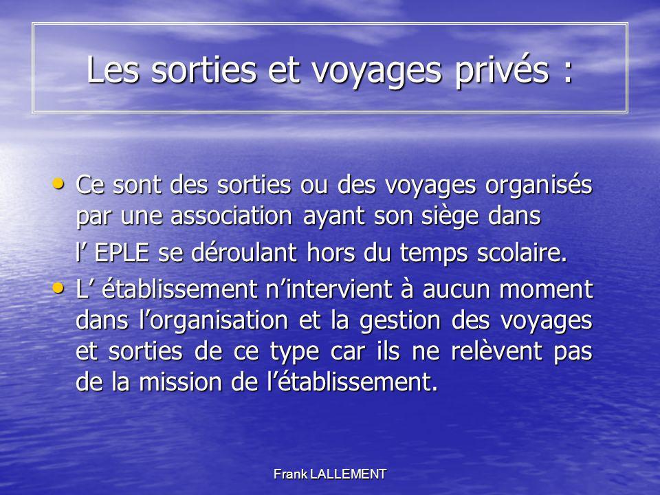 Les sorties et voyages privés :