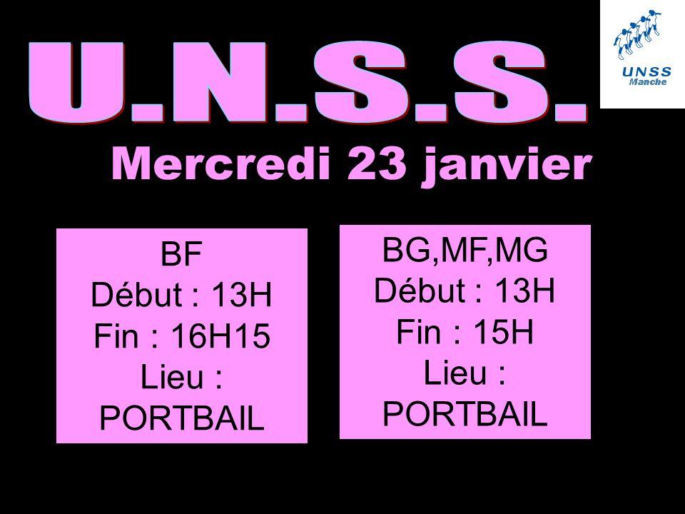 Mercredi 23 janvier U.N.S.S. BG,MF,MG BF Début : 13H Début : 13H