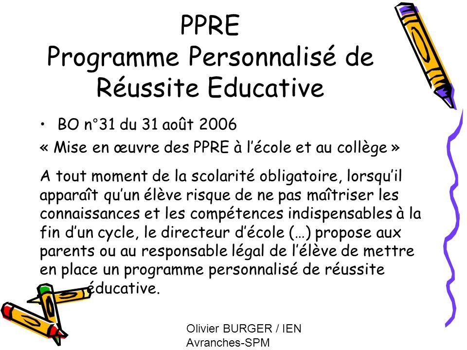 PPRE Programme Personnalisé de Réussite Educative