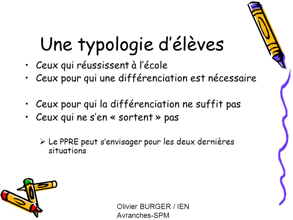 Une typologie d'élèves