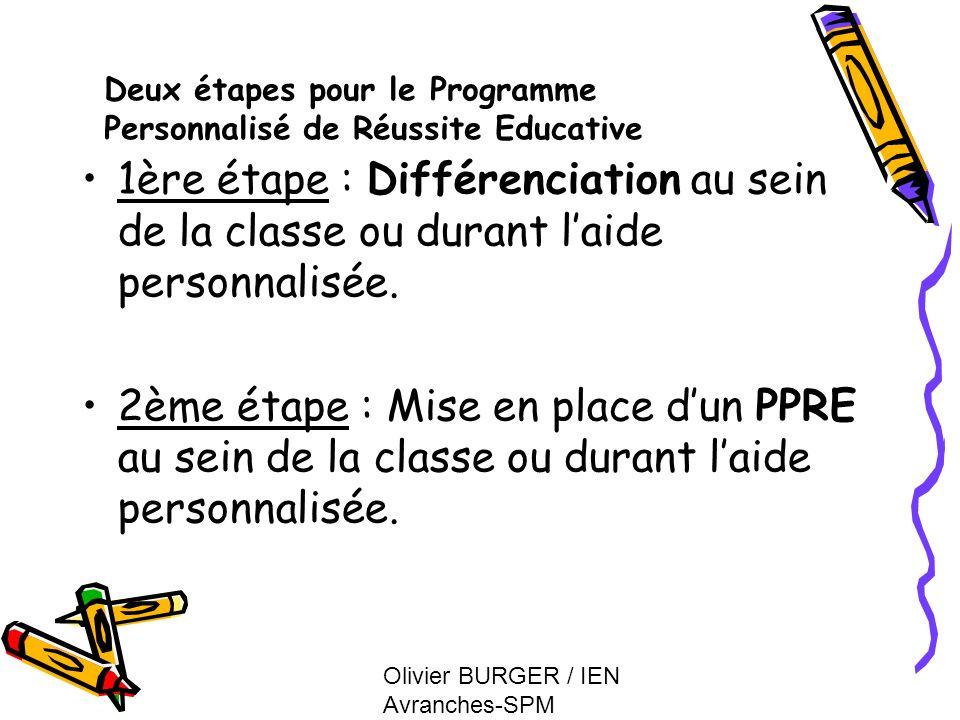 Deux étapes pour le Programme Personnalisé de Réussite Educative