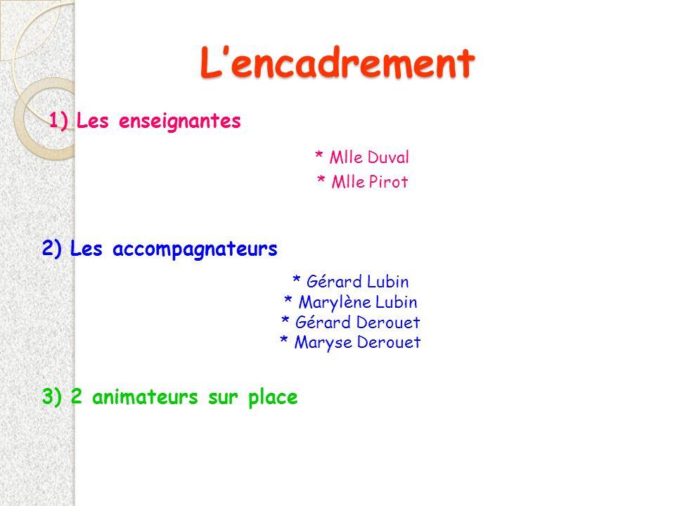 L'encadrement 1) Les enseignantes 2) Les accompagnateurs