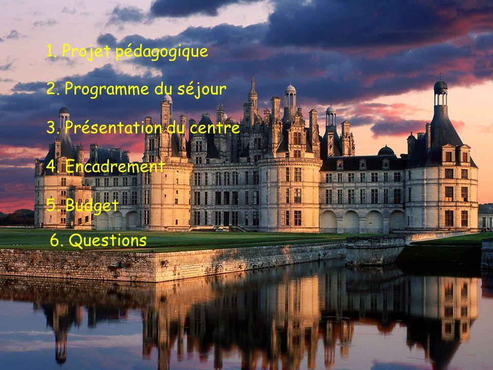 1. Projet pédagogique 2. Programme du séjour. 3. Présentation du centre. 4. Encadrement. 5. Budget.