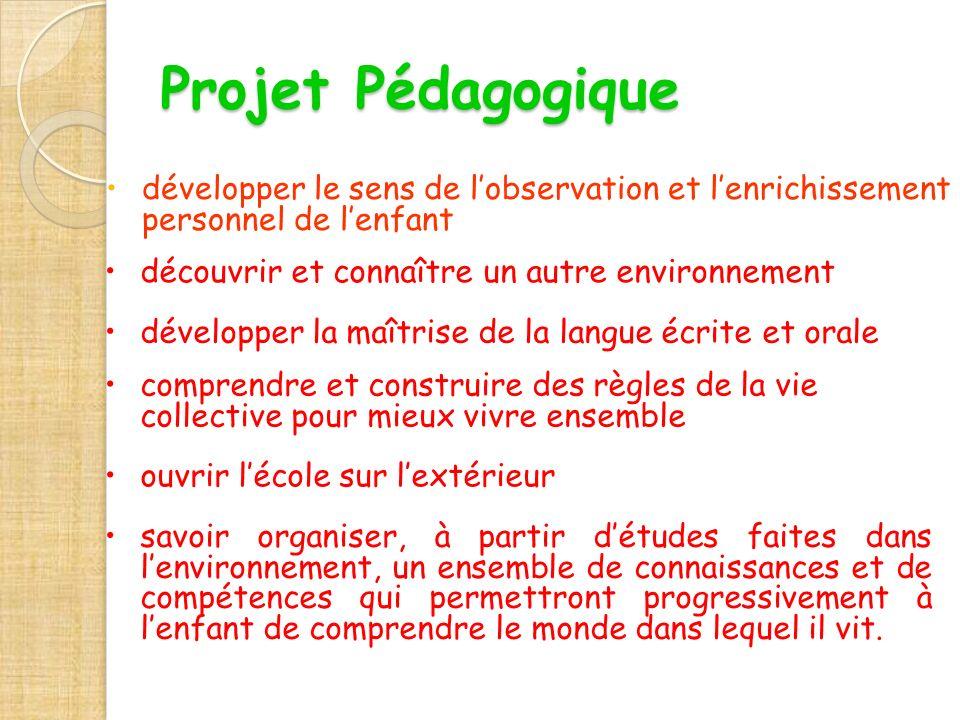 Projet Pédagogique développer le sens de l'observation et l'enrichissement personnel de l'enfant. découvrir et connaître un autre environnement.