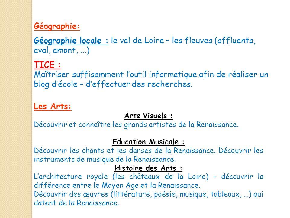 Géographie: Géographie locale : le val de Loire – les fleuves (affluents, aval, amont, ...) TICE :