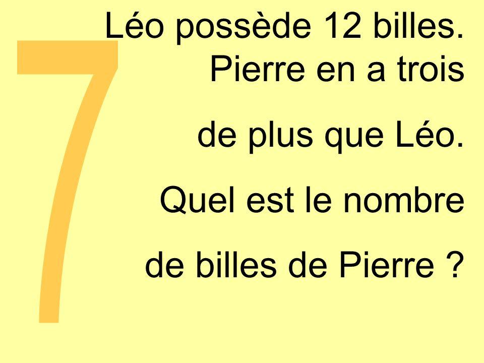 Léo possède 12 billes. Pierre en a trois de plus que Léo.