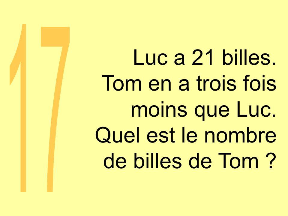 Luc a 21 billes. Tom en a trois fois moins que Luc. Quel est le nombre