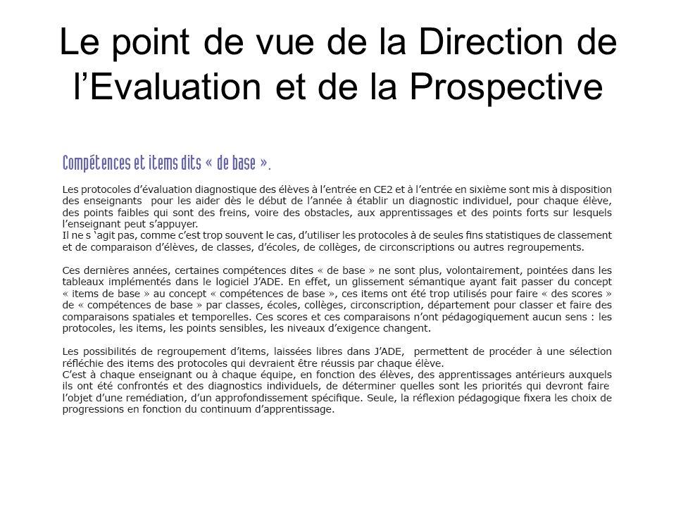 Le point de vue de la Direction de l'Evaluation et de la Prospective