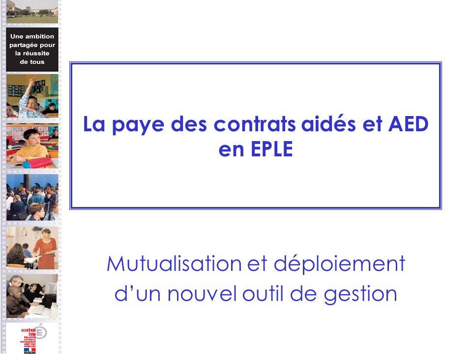 La paye des contrats aidés et AED en EPLE