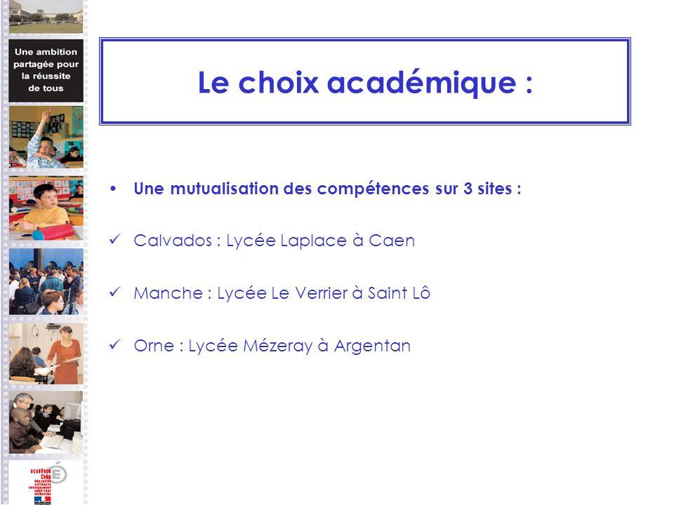 Le choix académique : Une mutualisation des compétences sur 3 sites :