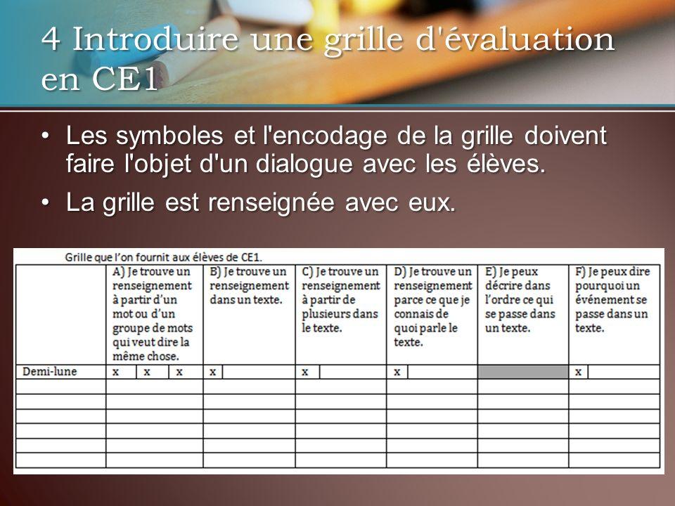 4 Introduire une grille d évaluation en CE1