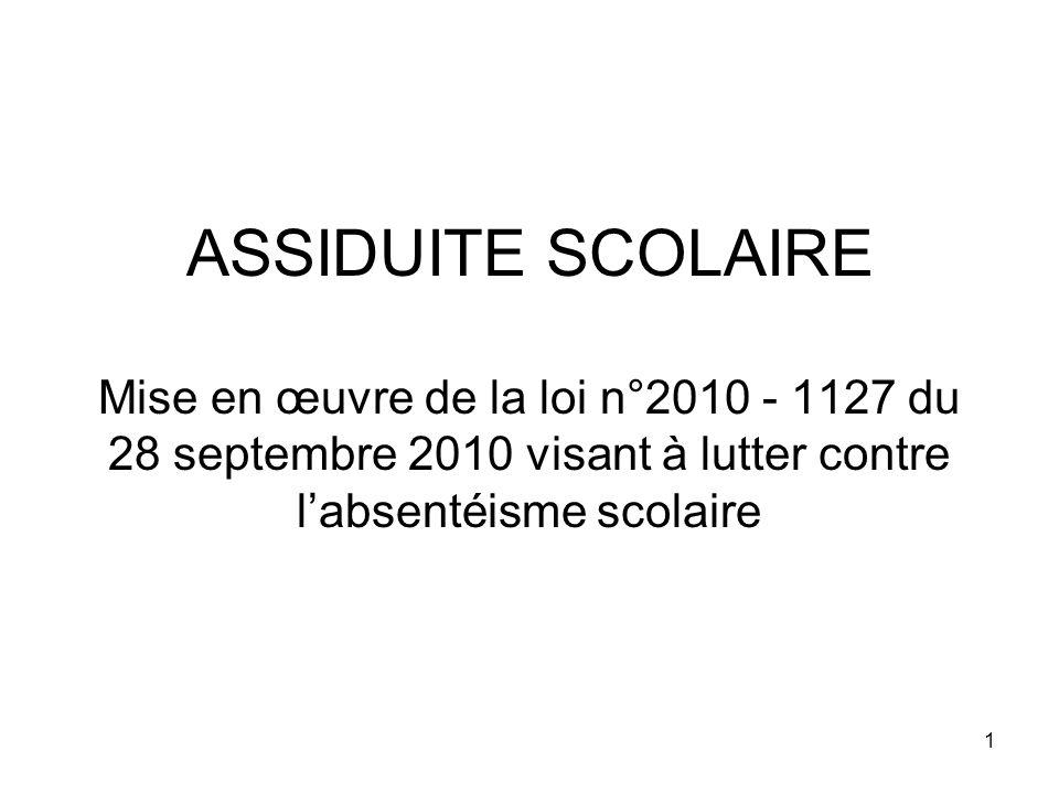 ASSIDUITE SCOLAIRE Mise en œuvre de la loi n°2010 - 1127 du 28 septembre 2010 visant à lutter contre l'absentéisme scolaire