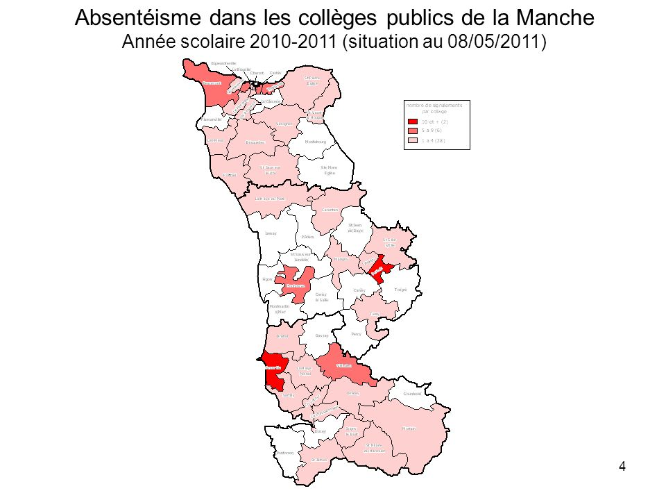Absentéisme dans les collèges publics de la Manche Année scolaire 2010-2011 (situation au 08/05/2011)