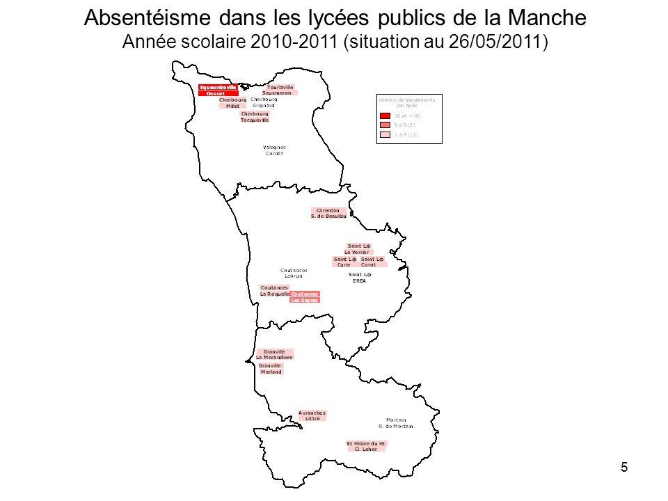 Absentéisme dans les lycées publics de la Manche Année scolaire 2010-2011 (situation au 26/05/2011)