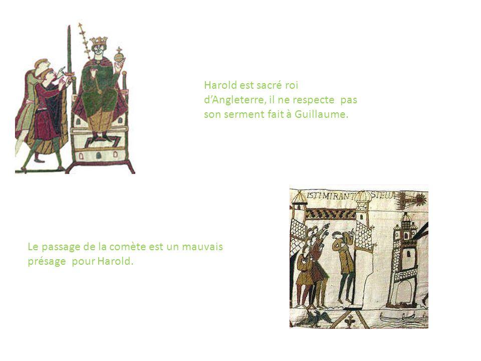 Harold est sacré roi d'Angleterre, il ne respecte pas son serment fait à Guillaume.