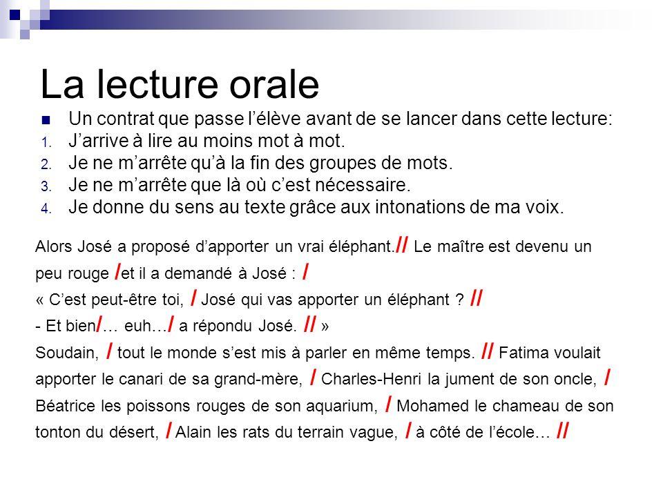 La lecture orale Un contrat que passe l'élève avant de se lancer dans cette lecture: J'arrive à lire au moins mot à mot.