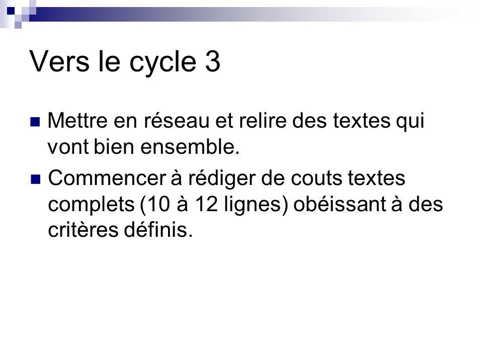 Vers le cycle 3 Mettre en réseau et relire des textes qui vont bien ensemble.