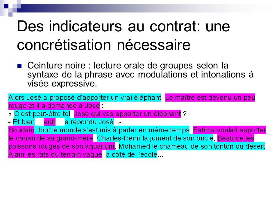 Des indicateurs au contrat: une concrétisation nécessaire