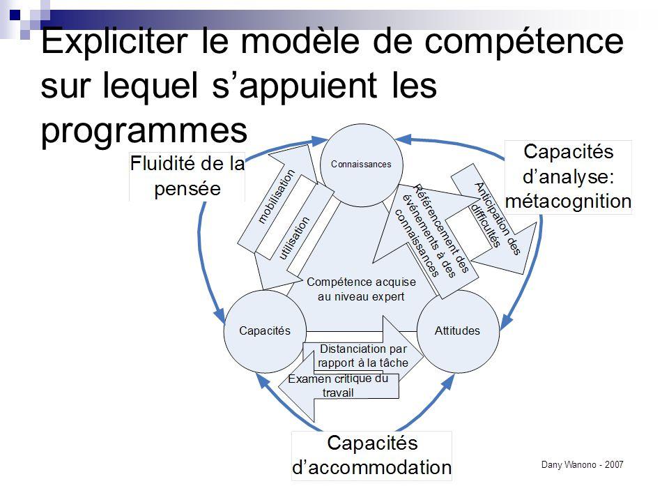 Expliciter le modèle de compétence sur lequel s'appuient les programmes