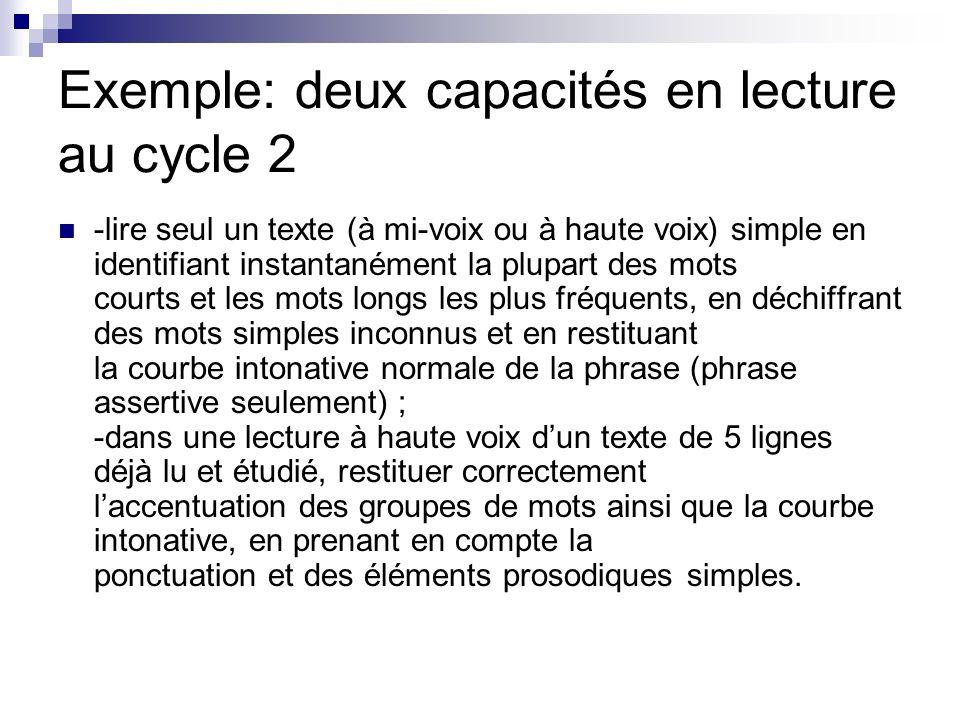 Exemple: deux capacités en lecture au cycle 2
