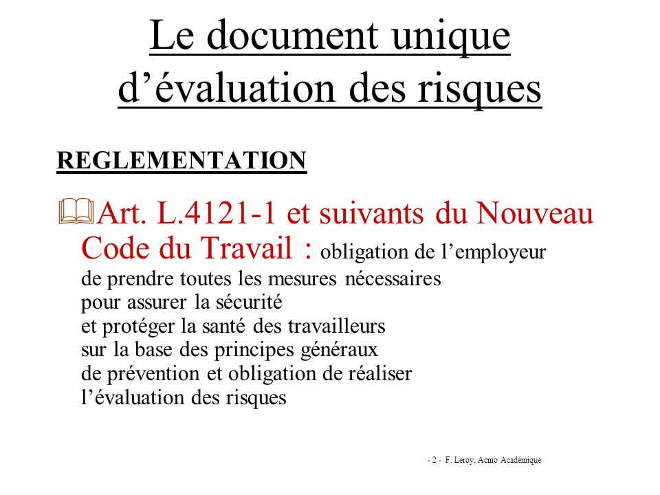 Le document unique d'évaluation des risques