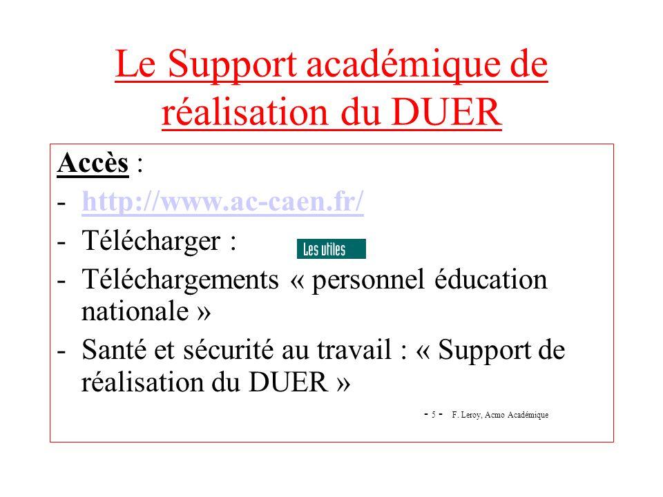 Le Support académique de réalisation du DUER