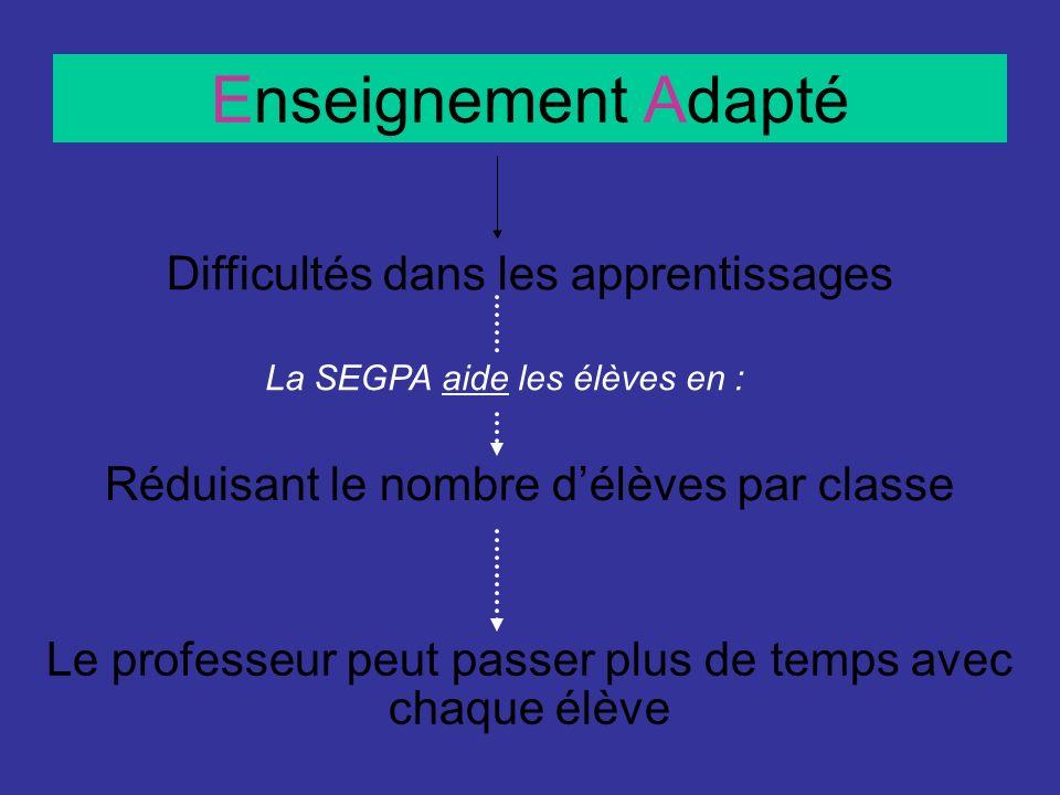 Enseignement Adapté Difficultés dans les apprentissages