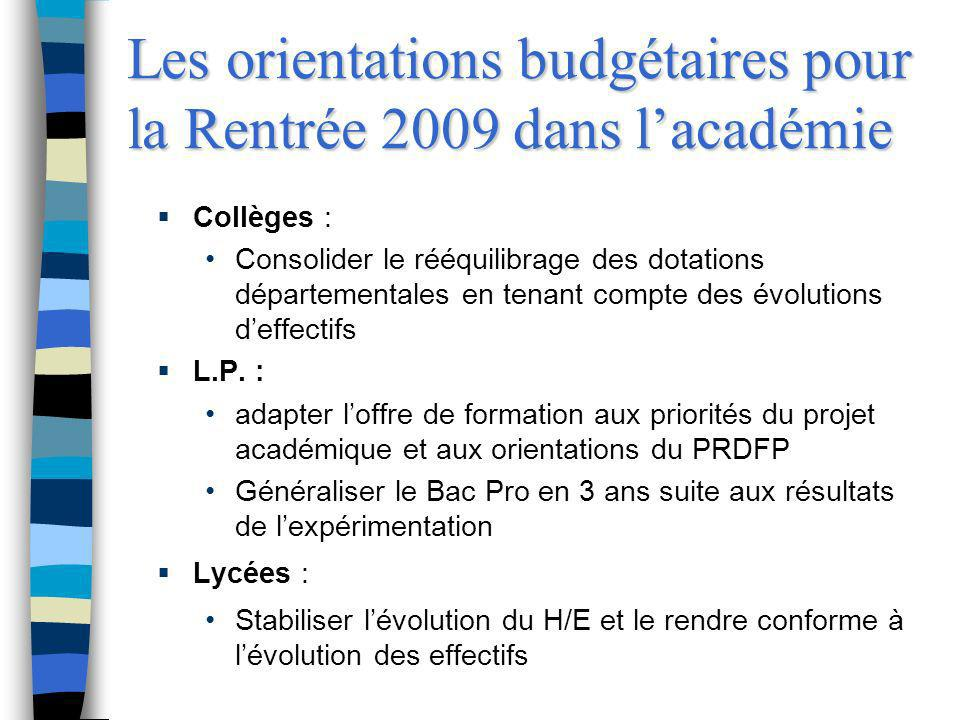 Les orientations budgétaires pour la Rentrée 2009 dans l'académie