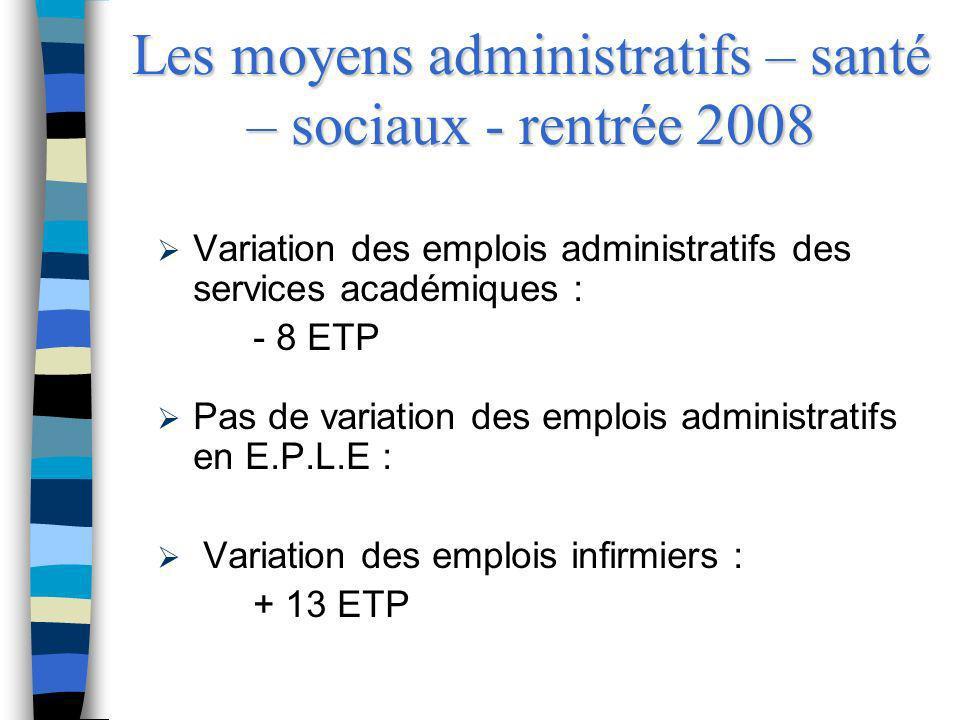 Les moyens administratifs – santé – sociaux - rentrée 2008