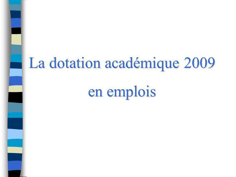 La dotation académique 2009 en emplois