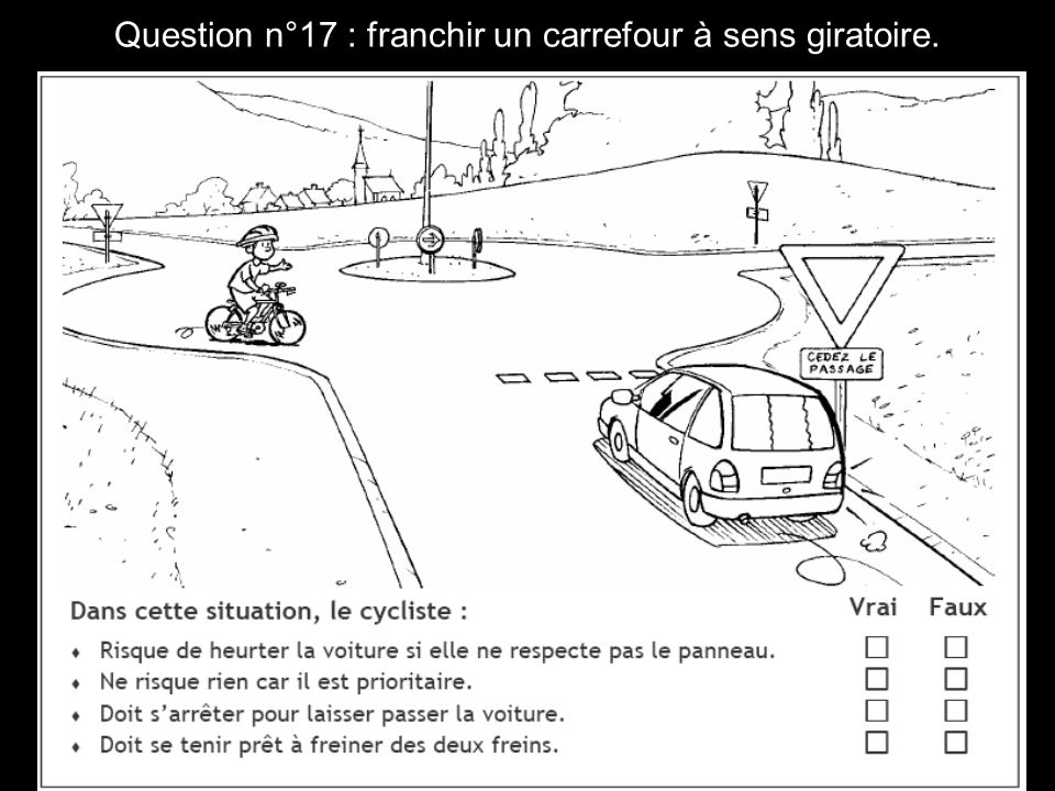 Question n°17 : franchir un carrefour à sens giratoire.