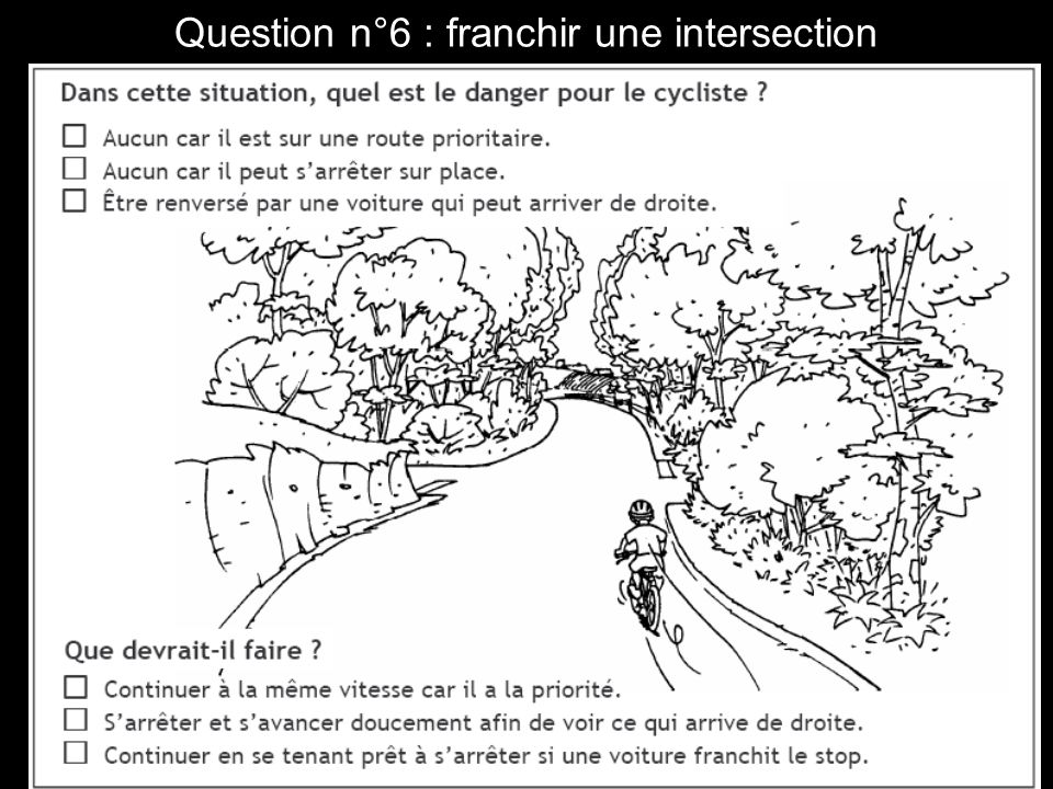 Question n°6 : franchir une intersection