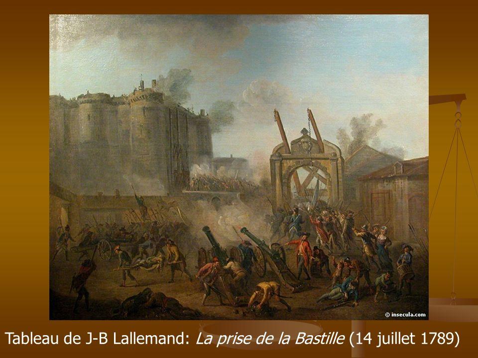 Tableau de J-B Lallemand: La prise de la Bastille (14 juillet 1789)