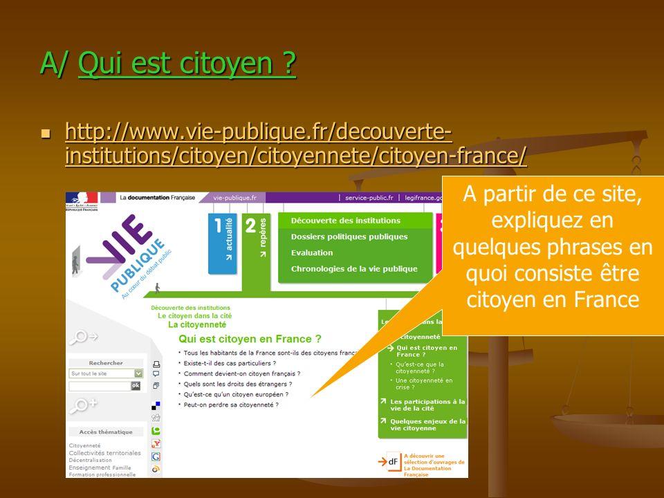 A/ Qui est citoyen http://www.vie-publique.fr/decouverte-institutions/citoyen/citoyennete/citoyen-france/