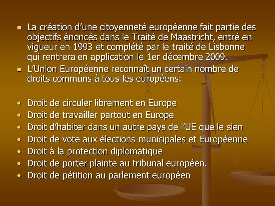 La création d'une citoyenneté européenne fait partie des objectifs énoncés dans le Traité de Maastricht, entré en vigueur en 1993 et complété par le traité de Lisbonne qui rentrera en application le 1er décembre 2009.