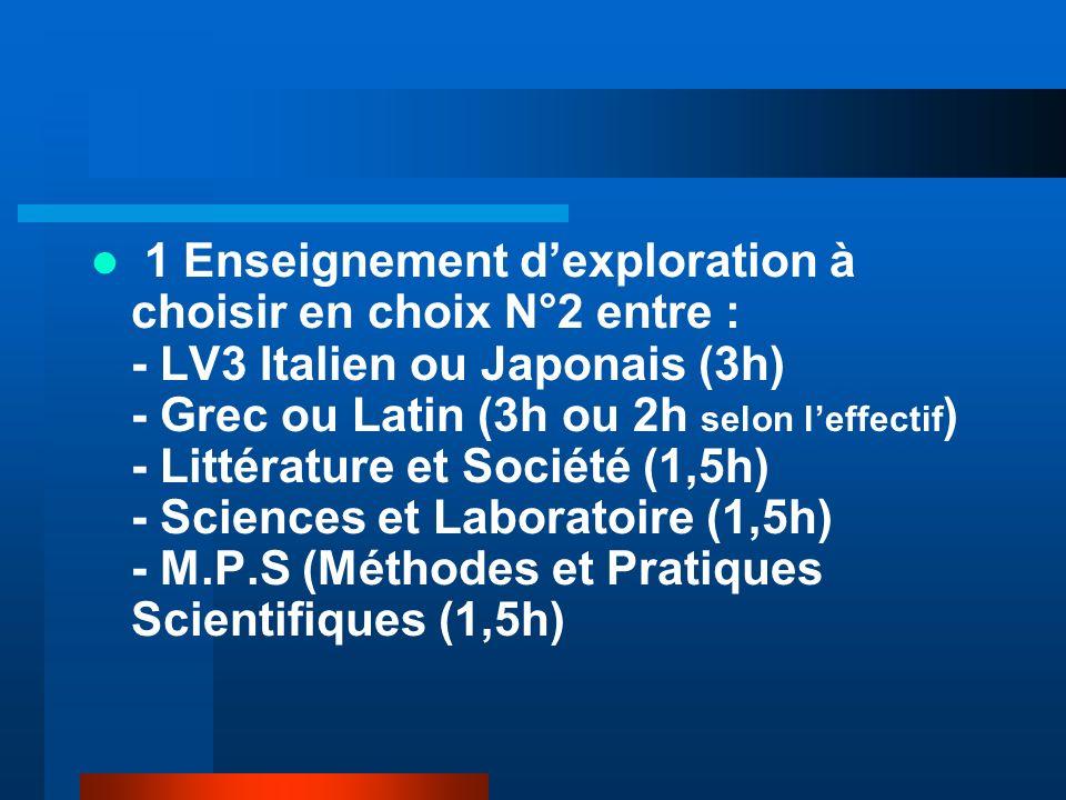 1 Enseignement d'exploration à choisir en choix N°2 entre : - LV3 Italien ou Japonais (3h) - Grec ou Latin (3h ou 2h selon l'effectif) - Littérature et Société (1,5h) - Sciences et Laboratoire (1,5h) - M.P.S (Méthodes et Pratiques Scientifiques (1,5h)