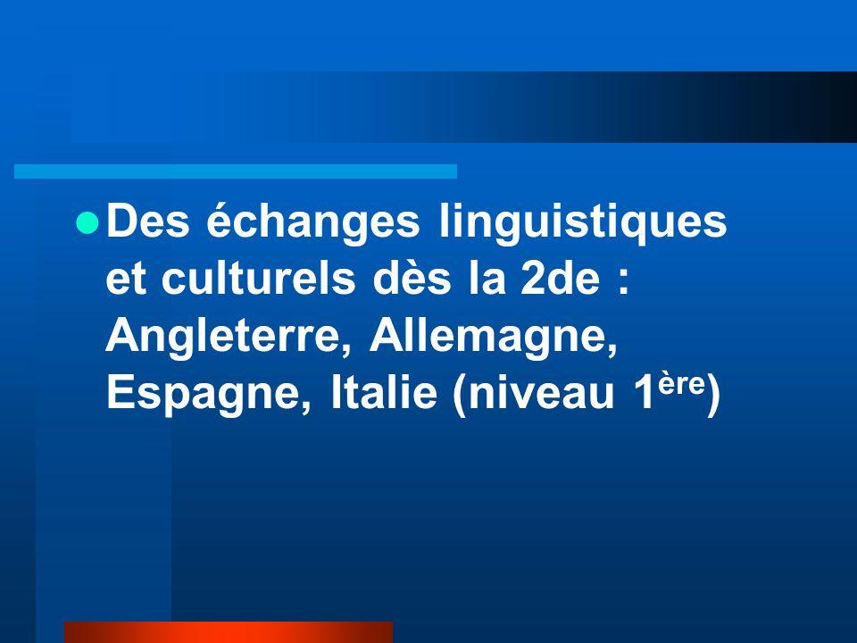 Des échanges linguistiques et culturels dès la 2de : Angleterre, Allemagne, Espagne, Italie (niveau 1ère)