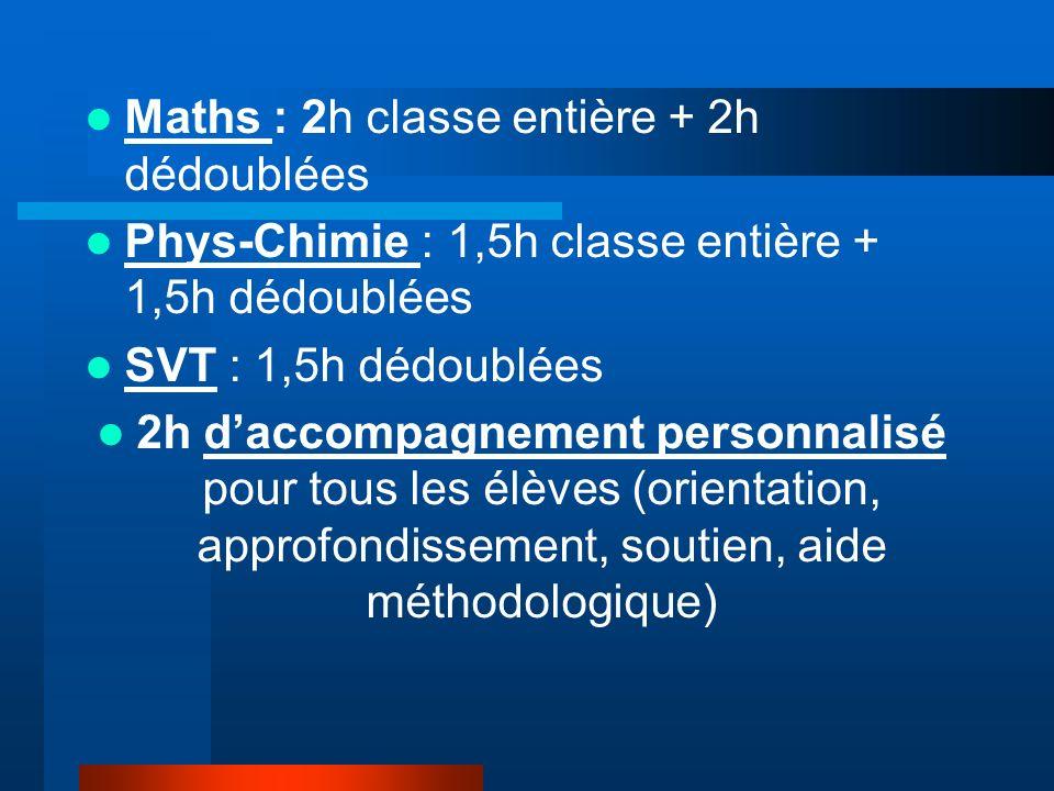 Maths : 2h classe entière + 2h dédoublées