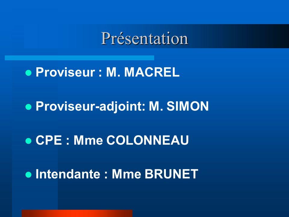 Présentation Proviseur : M. MACREL Proviseur-adjoint: M. SIMON