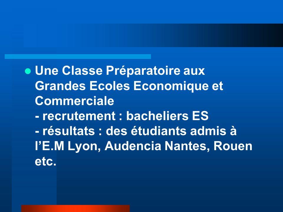 Une Classe Préparatoire aux Grandes Ecoles Economique et Commerciale - recrutement : bacheliers ES - résultats : des étudiants admis à l'E.M Lyon, Audencia Nantes, Rouen etc.