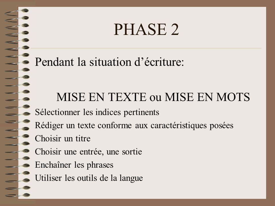 PHASE 2 Pendant la situation d'écriture: MISE EN TEXTE ou MISE EN MOTS