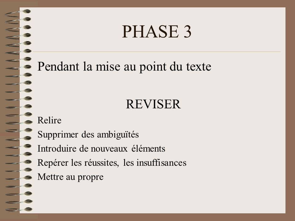 PHASE 3 Pendant la mise au point du texte REVISER Relire