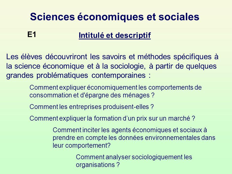 Sciences économiques et sociales Intitulé et descriptif