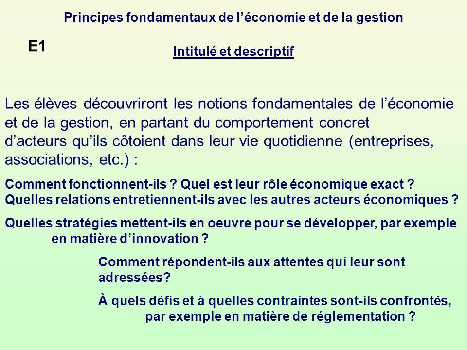 Principes fondamentaux de l'économie et de la gestion Intitulé et descriptif