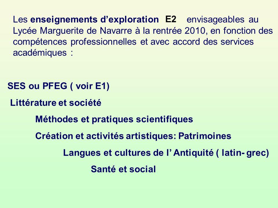 Les enseignements d'exploration envisageables au Lycée Marguerite de Navarre à la rentrée 2010, en fonction des compétences professionnelles et avec accord des services académiques :