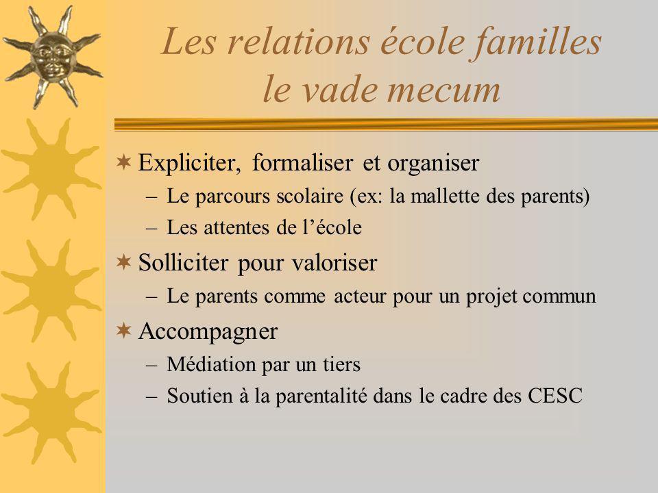 Les relations école familles le vade mecum