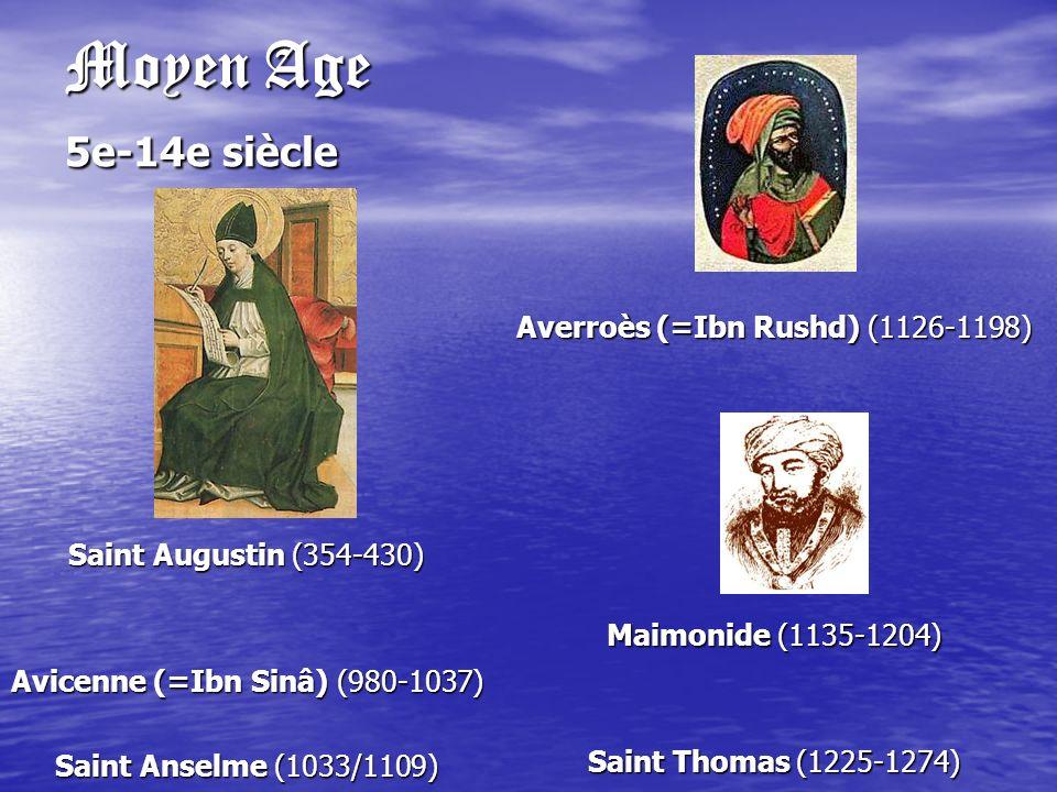 Moyen Age 5e-14e siècle Averroès (=Ibn Rushd) (1126-1198)