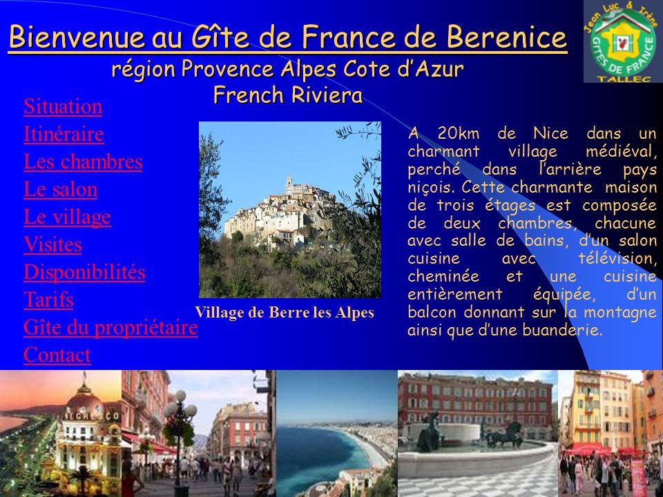 Bienvenue au Gîte de France de Berenice région Provence Alpes Cote d'Azur French Riviera