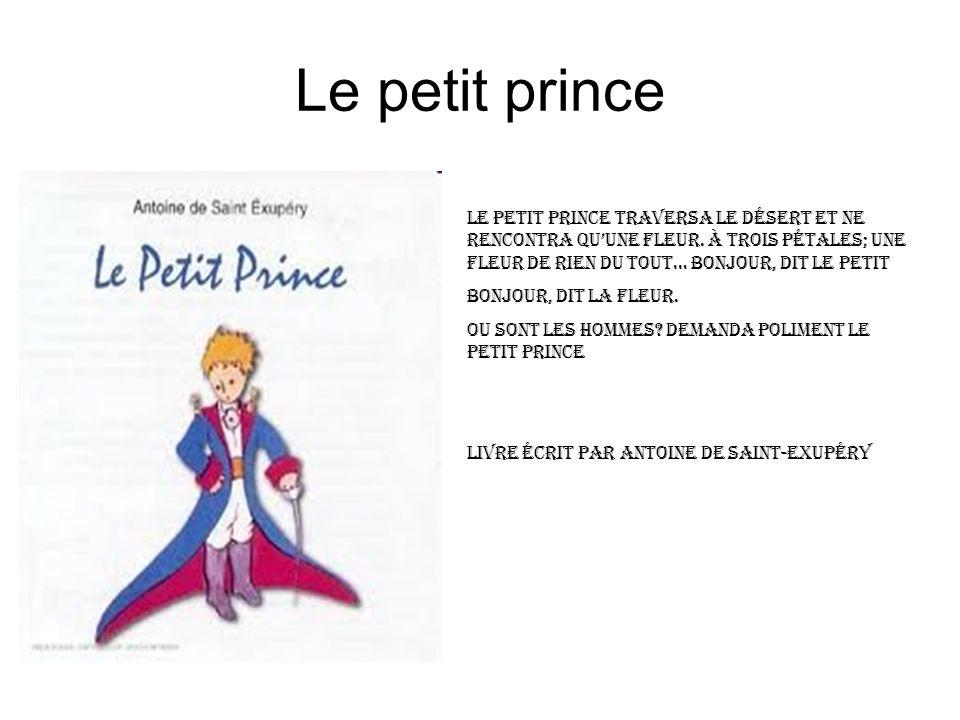 Le petit prince Le petit prince traversa le désert et ne rencontra qu'une fleur. à trois pétales; une fleur de rien Du tout… bonjour, dit le petit.