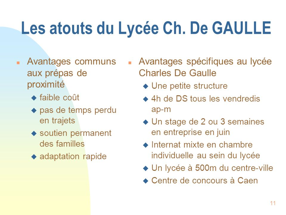 Les atouts du Lycée Ch. De GAULLE